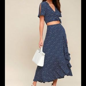Lulu's Navy Blue Polka Dot Two-Piece Maxi Dress